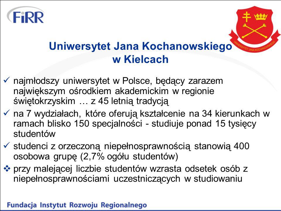 Uniwersytet Jana Kochanowskiego w Kielcach najmłodszy uniwersytet w Polsce, będący zarazem największym ośrodkiem akademickim w regionie świętokrzyskim … z 45 letnią tradycją na 7 wydziałach, które oferują kształcenie na 34 kierunkach w ramach blisko 150 specjalności - studiuje ponad 15 tysięcy studentów studenci z orzeczoną niepełnosprawnością stanowią 400 osobowa grupę (2,7% ogółu studentów)  przy malejącej liczbie studentów wzrasta odsetek osób z niepełnosprawnościami uczestniczących w studiowaniu