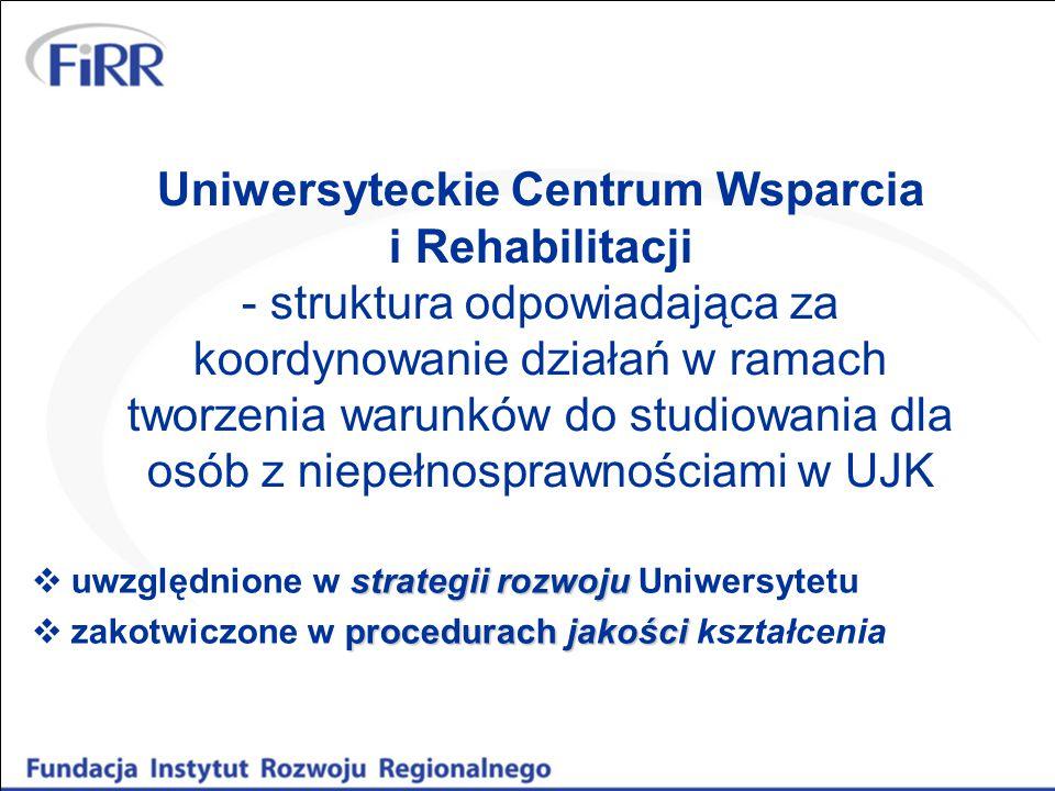 Uniwersyteckie Centrum Wsparcia i Rehabilitacji - struktura odpowiadająca za koordynowanie działań w ramach tworzenia warunków do studiowania dla osób z niepełnosprawnościami w UJK strategii rozwoju  uwzględnione w strategii rozwoju Uniwersytetu procedurach jakości  zakotwiczone w procedurach jakości kształcenia