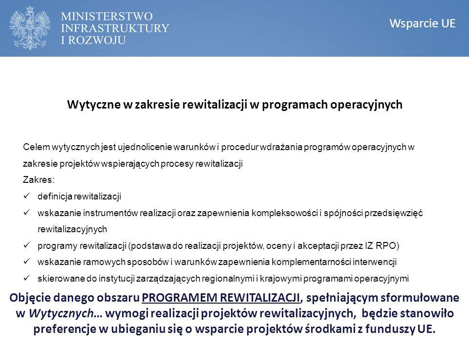 KONSTRUKCJA NARODOWEGO PLANU REWITALIZACJI Narodowy Plan Rewitalizacji Wsparcie UE Wytyczne w zakresie rewitalizacji w programach operacyjnych Celem w