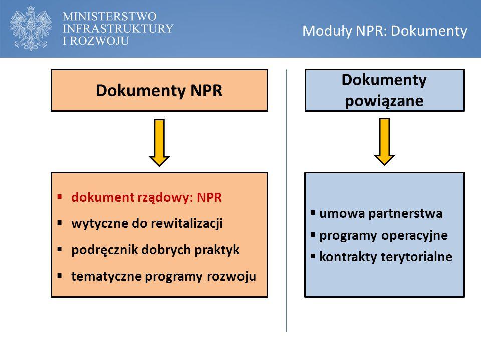 Moduły NPR: Regulacje propozycje legislacyjne  ustawa rewitalizacyjna  zadanie własne gminy  umocowanie prawne programu rewitalizacji  Komitet Rewitalizacji dodatkowo (do dyskusji)  cel publiczny (społeczne budownictwo czynszowe)  powiązanie z planowaniem  zachęty finansowe
