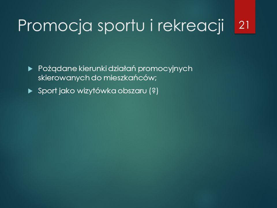 Promocja sportu i rekreacji  Pożądane kierunki działań promocyjnych skierowanych do mieszkańców;  Sport jako wizytówka obszaru ( ) 21