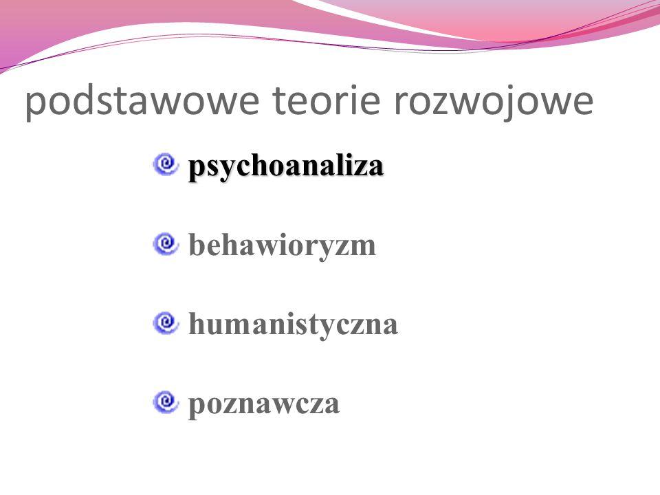 podstawowe teorie rozwojowe psychoanaliza behawioryzm humanistyczna poznawcza