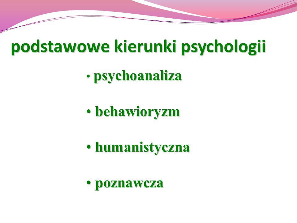 podstawowe kierunki psychologii psychoanaliza behawioryzm behawioryzm humanistyczna humanistyczna poznawcza poznawcza