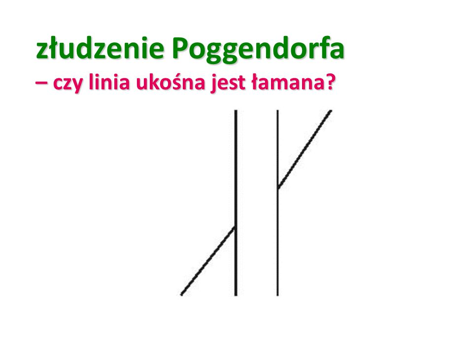 złudzenie Poggendorfa – czy linia ukośna jest łamana?