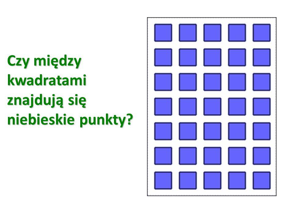 Czy między kwadratami znajdują się niebieskie punkty?