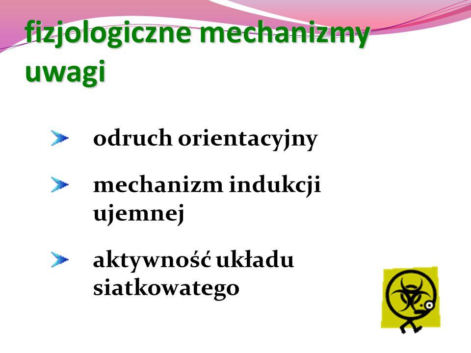 fizjologiczne mechanizmy uwagi odruch orientacyjny mechanizm indukcji ujemnej aktywność układu siatkowatego