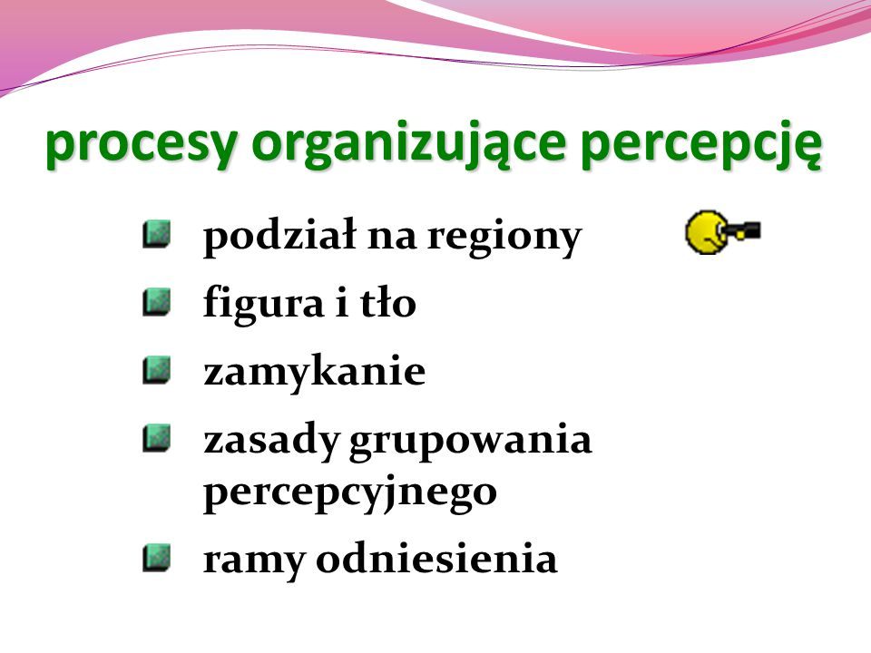 procesy organizujące percepcję podział na regiony figura i tło zamykanie zasady grupowania percepcyjnego ramy odniesienia