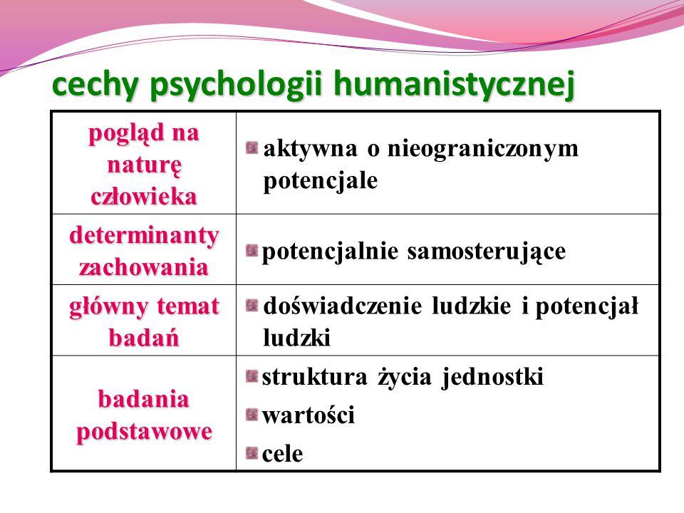 cechy psychologii humanistycznej pogląd na naturę człowieka aktywna o nieograniczonym potencjale determinanty zachowania potencjalnie samosterujące gł