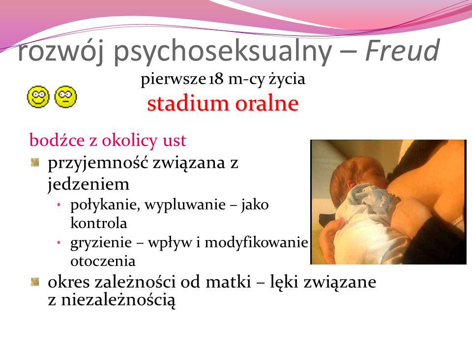 rozwój psychoseksualny – Freud pierwsze 18 m-cy życia stadium oralne bodźce z okolicy ust przyjemność związana z jedzeniem połykanie, wypluwanie – jak