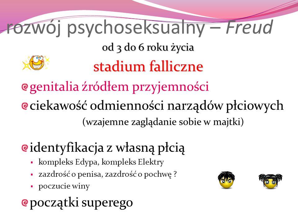 rozwój psychoseksualny – Freud od 3 do 6 roku życia stadium falliczne genitalia źródłem przyjemności ciekawość odmienności narządów płciowych (wzajemn