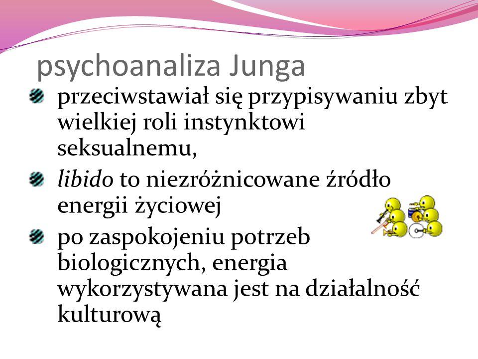 psychoanaliza Junga przeciwstawiał się przypisywaniu zbyt wielkiej roli instynktowi seksualnemu, libido to niezróżnicowane źródło energii życiowej po