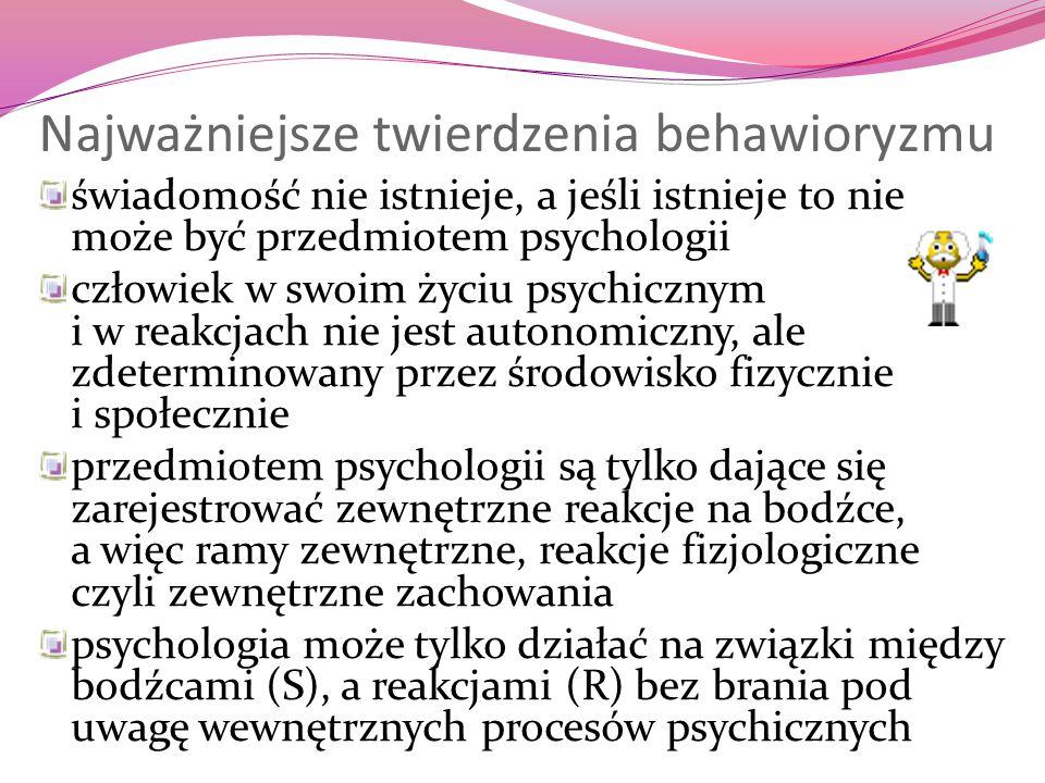 Najważniejsze twierdzenia behawioryzmu świadomość nie istnieje, a jeśli istnieje to nie może być przedmiotem psychologii człowiek w swoim życiu psychi
