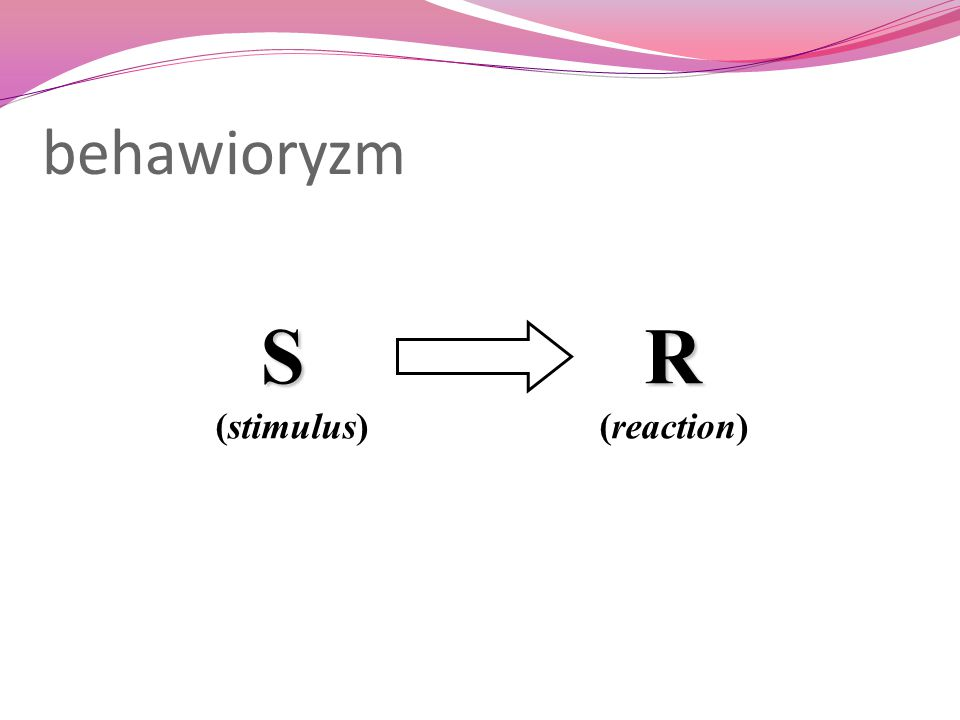 behawioryzm S R (stimulus) (reaction)