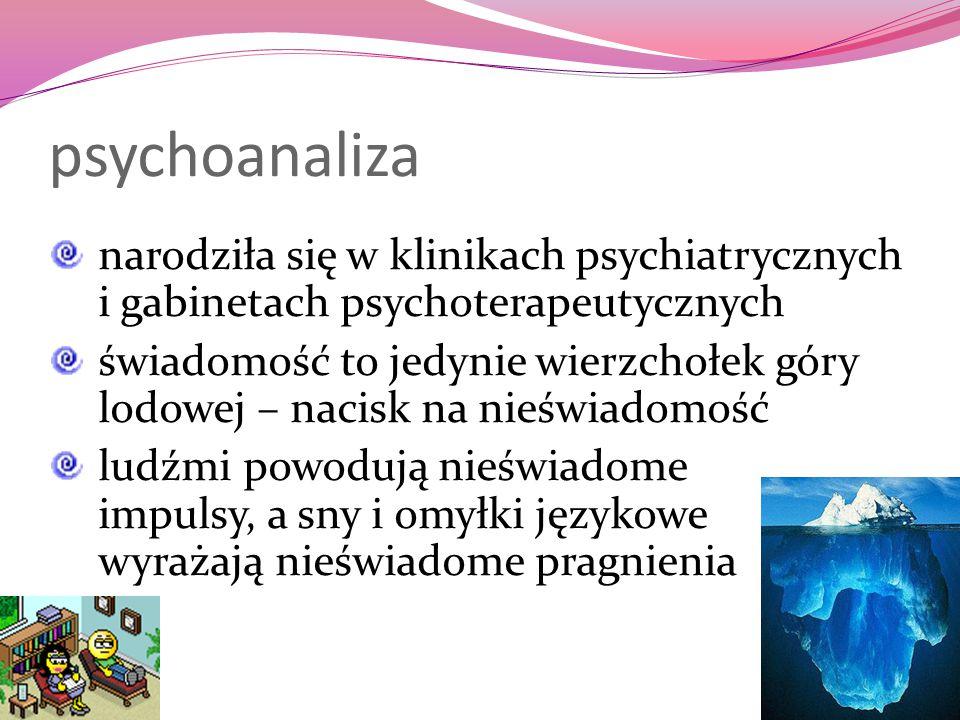 psychoanaliza narodziła się w klinikach psychiatrycznych i gabinetach psychoterapeutycznych świadomość to jedynie wierzchołek góry lodowej – nacisk na