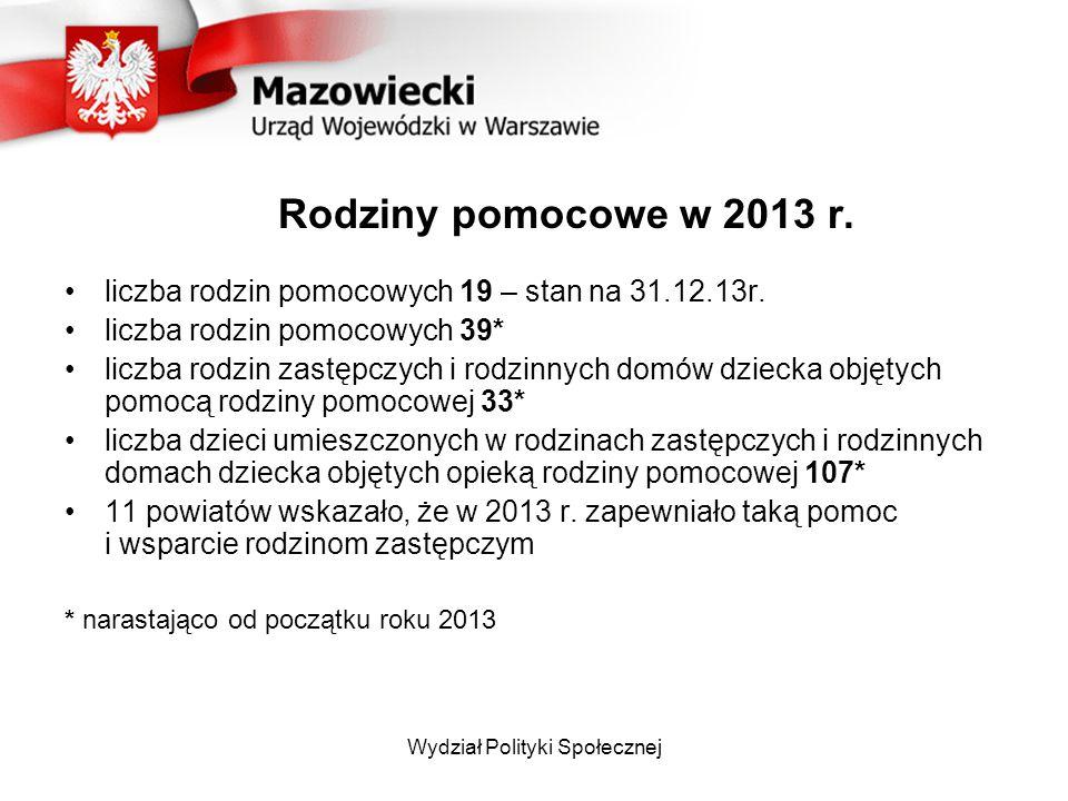 Rodziny pomocowe w 2013 r.liczba rodzin pomocowych 19 – stan na 31.12.13r.
