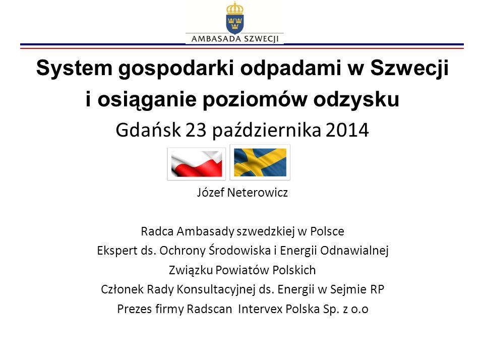 System gospodarki odpadami w Szwecji i osiąganie poziomów odzysku Gdańsk 23 października 2014 Józef Neterowicz Radca Ambasady szwedzkiej w Polsce Eksp