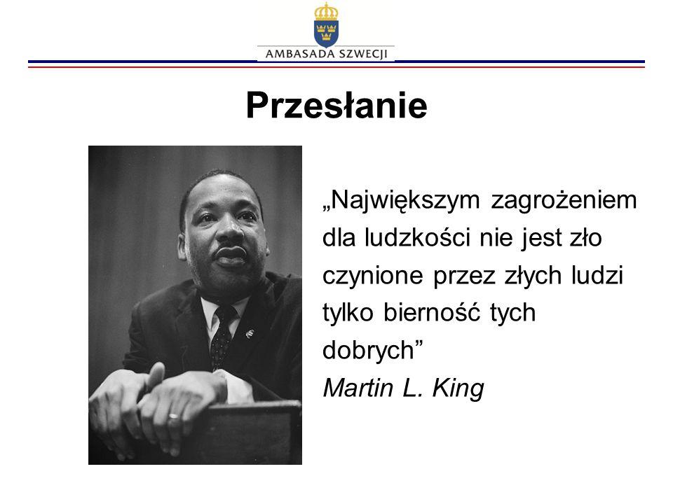 """Przesłanie """"Największym zagrożeniem dla ludzkości nie jest zło czynione przez złych ludzi tylko bierność tych dobrych"""" Martin L. King"""