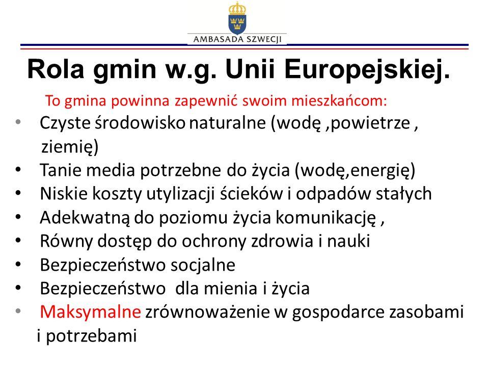Rola gmin w.g. Unii Europejskiej. To gmina powinna zapewnić swoim mieszkańcom: Czyste środowisko naturalne (wodę,powietrze, ziemię) Tanie media potrze