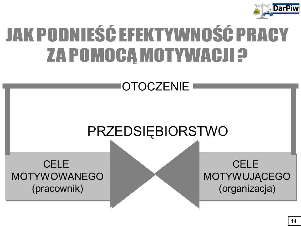 CELE MOTYWOWANEGO (pracownik) CELE MOTYWOWANEGO (pracownik) CELE MOTYWUJĄCEGO (organizacja) CELE MOTYWUJĄCEGO (organizacja) PRZEDSIĘBIORSTWO OTOCZENIE