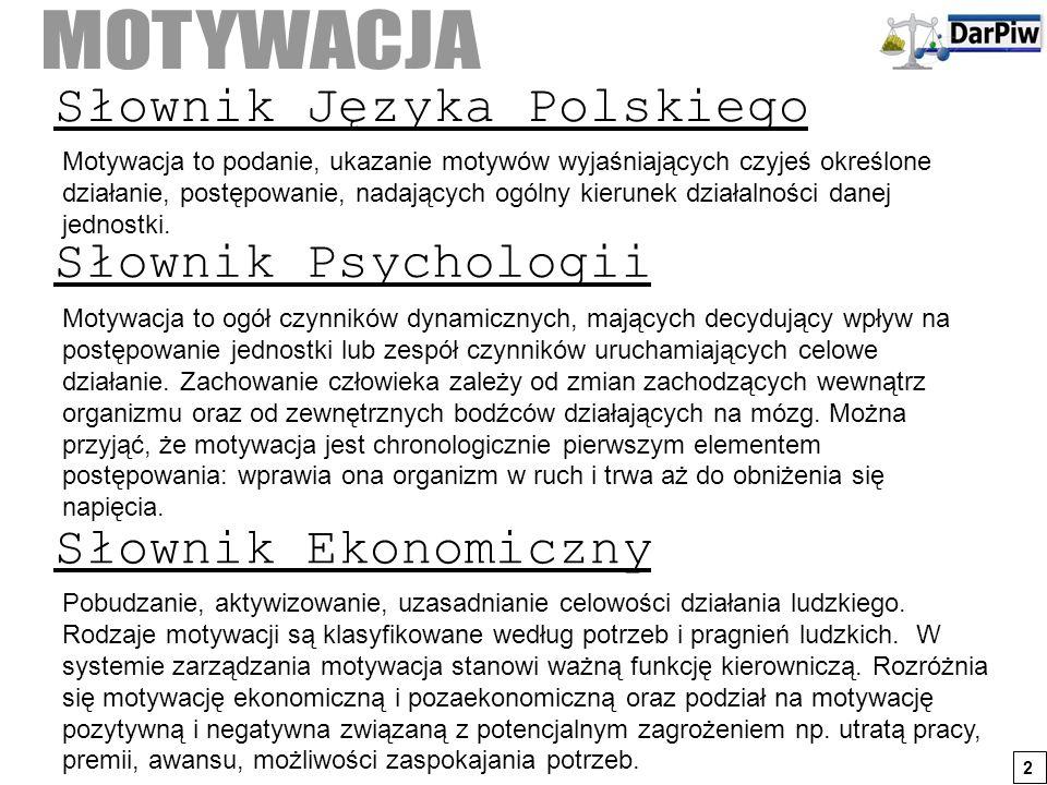 Słownik Języka Polskiego Motywacja to podanie, ukazanie motywów wyjaśniających czyjeś określone działanie, postępowanie, nadających ogólny kierunek dz