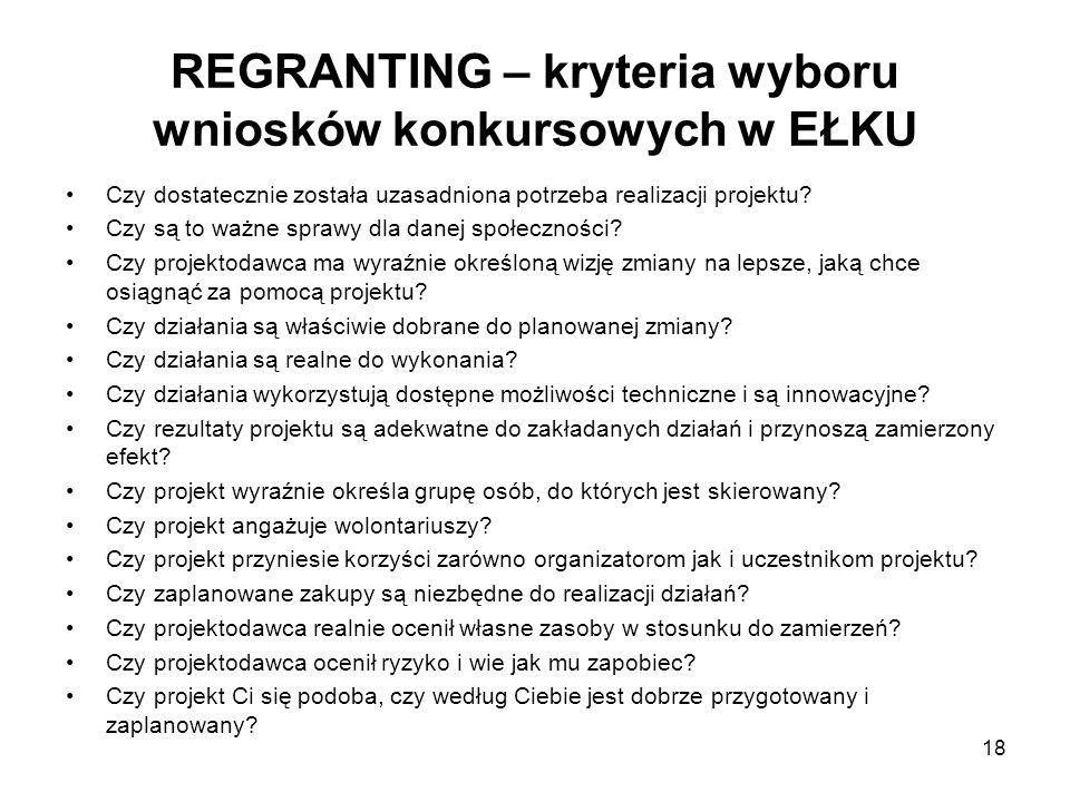 REGRANTING – kryteria wyboru wniosków konkursowych w EŁKU Czy dostatecznie została uzasadniona potrzeba realizacji projektu? Czy są to ważne sprawy dl