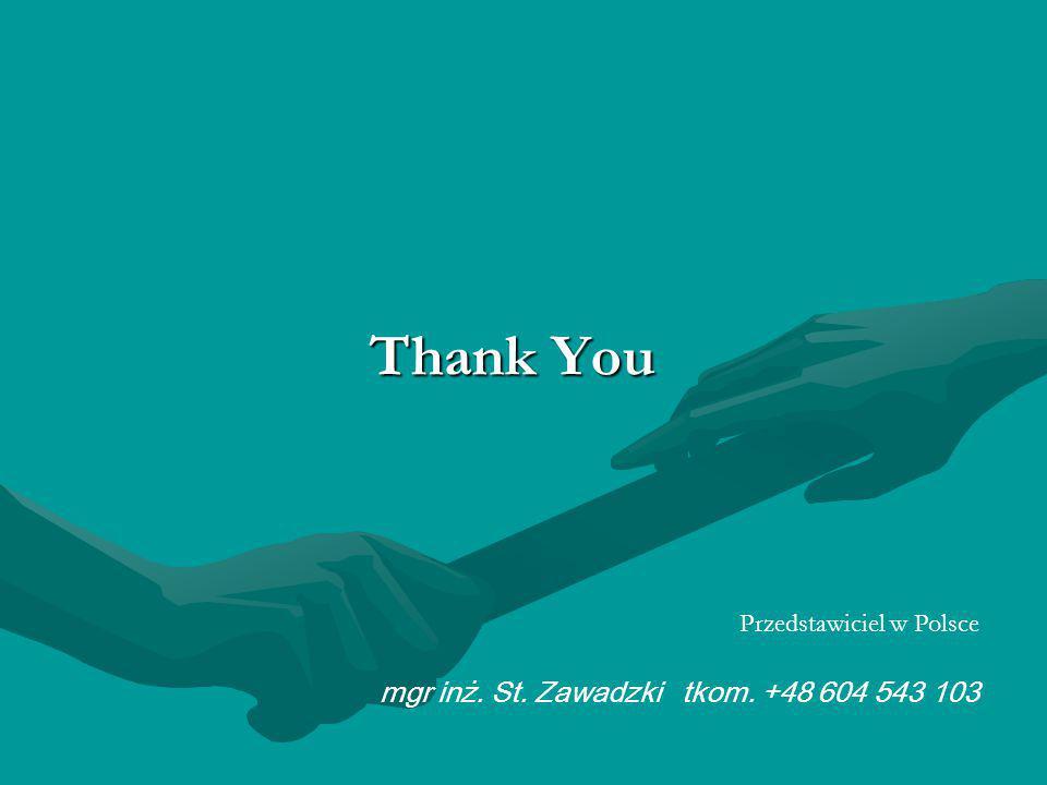 Thank You Przedstawiciel w Polsce mgr inż. St. Zawadzki tkom. +48 604 543 103