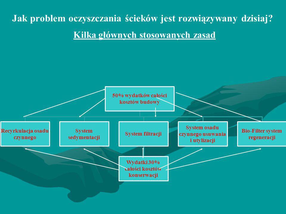 Jak problem oczyszczania ścieków jest rozwiązywany dzisiaj? Kilka głównych stosowanych zasad 50% wydatków całości kosztów budowy Recyrkulacja osadu cz