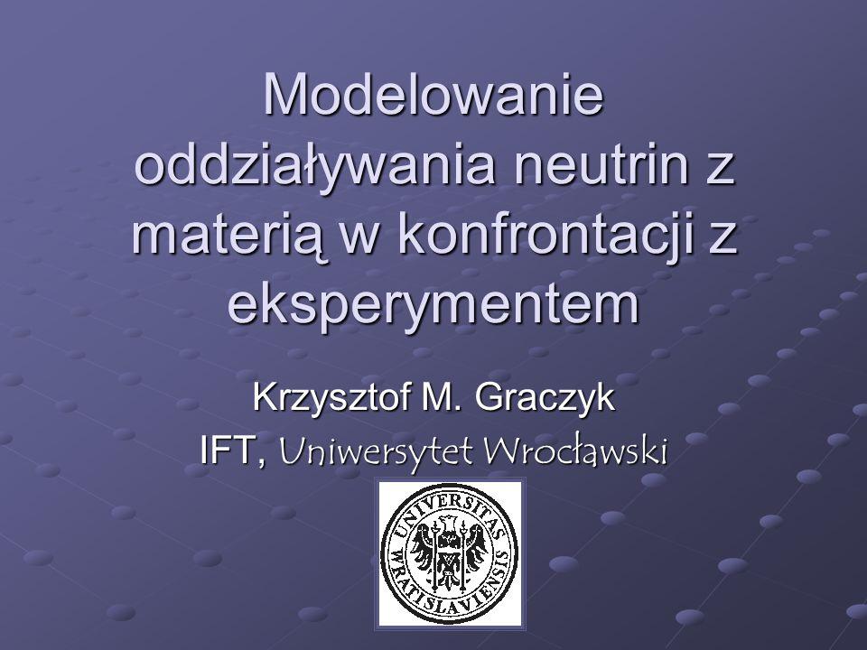 Neutrina akceleratorowe na przykładzie K2K Bardzo duż liczba efektów do uwzględnienia Reinterakcja pionów w materii jądrowej Rozpady pionów Geometria wiązki Wzór z pracy K2K, na temat fluxu