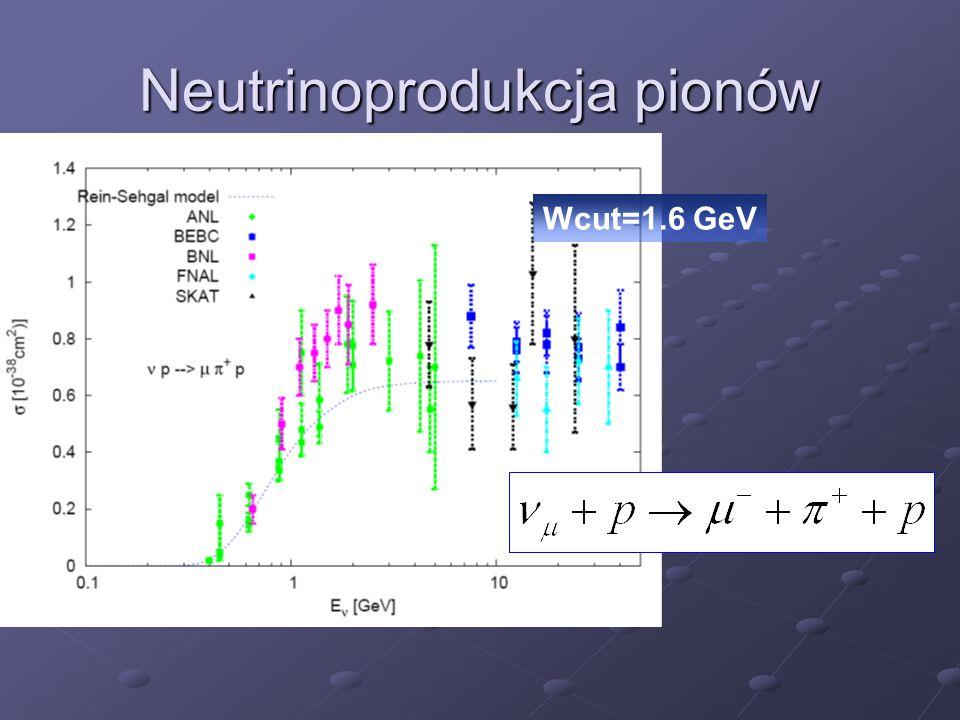 Neutrinoprodukcja pionów Wcut=1.6 GeV