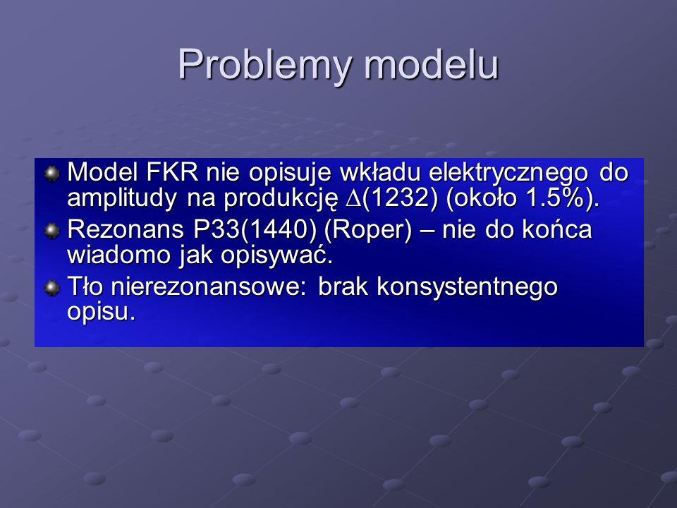 Problemy modelu Model FKR nie opisuje wkładu elektrycznego do amplitudy na produkcję  (1232) (około 1.5%). Rezonans P33(1440) (Roper) – nie do końca