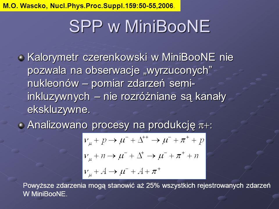 """SPP w MiniBooNE Kalorymetr czerenkowski w MiniBooNE nie pozwala na obserwacje """"wyrzuconych"""" nukleonów – pomiar zdarzeń semi- inkluzywnych – nie rozróż"""