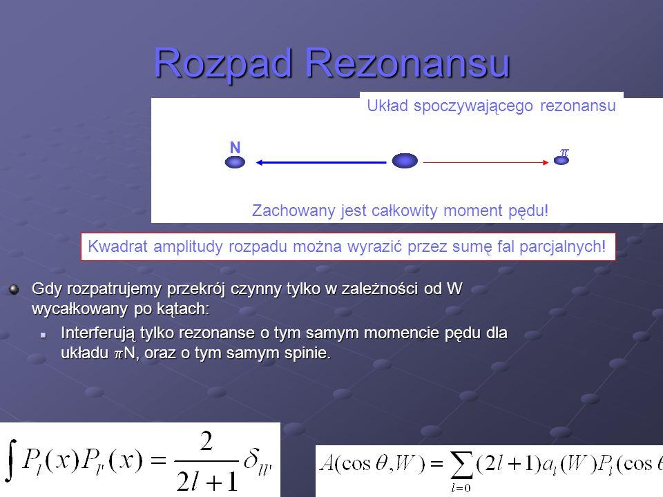 Rozpad Rezonansu  N Zachowany jest całkowity moment pędu! Układ spoczywającego rezonansu Kwadrat amplitudy rozpadu można wyrazić przez sumę fal parcj