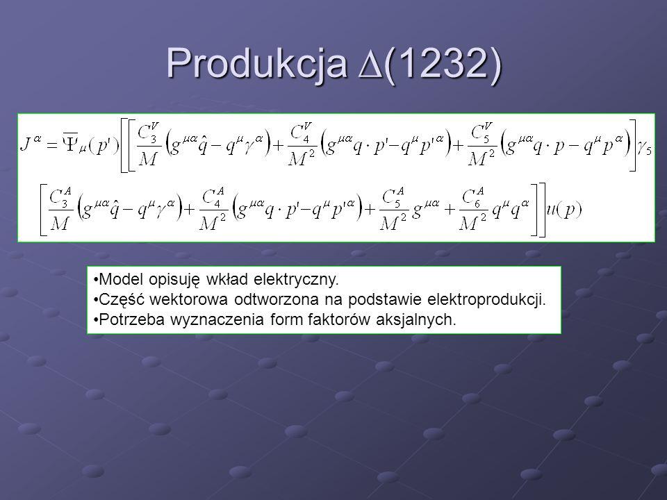 Produkcja  (1232) Model opisuję wkład elektryczny. Część wektorowa odtworzona na podstawie elektroprodukcji. Potrzeba wyznaczenia form faktorów aksja