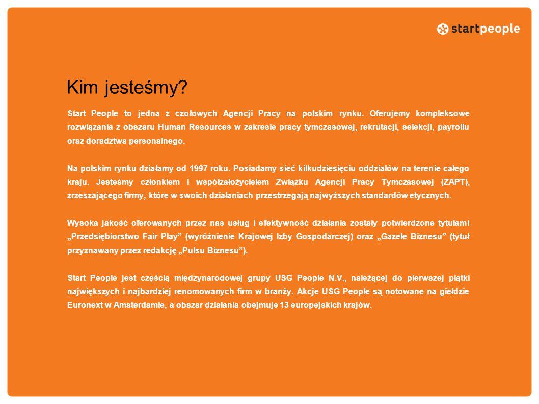Kim jesteśmy? Start People to jedna z czołowych Agencji Pracy na polskim rynku. Oferujemy kompleksowe rozwiązania z obszaru Human Resources w zakresie