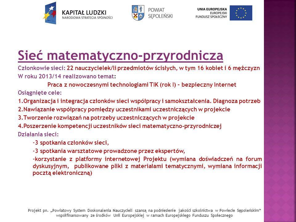 Sieć matematyczno-przyrodnicza Członkowie sieci: 22 nauczycielek/li przedmiotów ścisłych, w tym 16 kobiet i 6 mężczyzn W roku 2013/14 realizowano tema