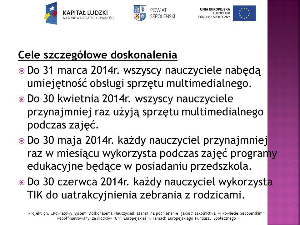 Cele szczegółowe doskonalenia  Do 31 marca 2014r.