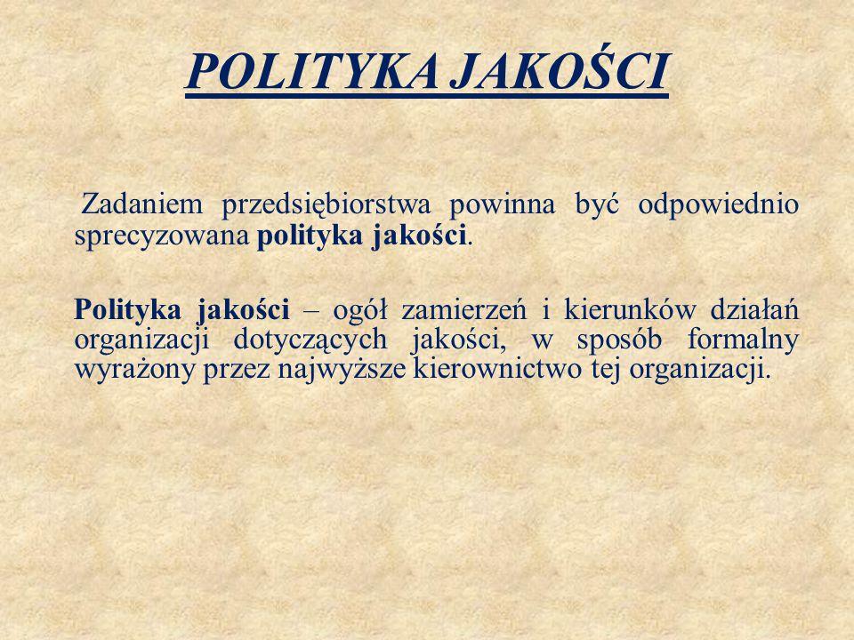 POLITYKA JAKOŚCI Zadaniem przedsiębiorstwa powinna być odpowiednio sprecyzowana polityka jakości. Polityka jakości – ogół zamierzeń i kierunków działa