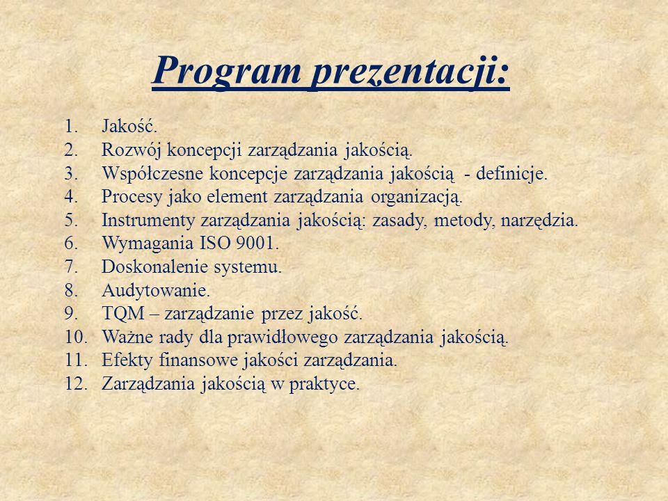Program prezentacji: 1.Jakość. 2.Rozwój koncepcji zarządzania jakością. 3.Współczesne koncepcje zarządzania jakością - definicje. 4.Procesy jako eleme