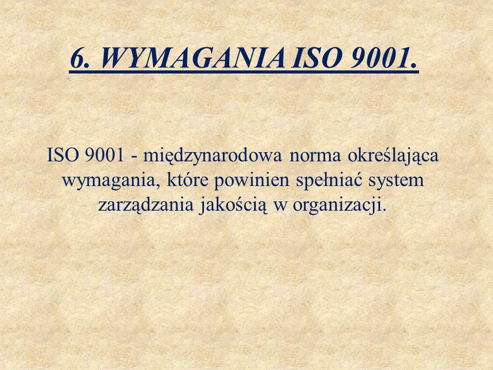 6. WYMAGANIA ISO 9001. ISO 9001 - międzynarodowa norma określająca wymagania, które powinien spełniać system zarządzania jakością w organizacji.