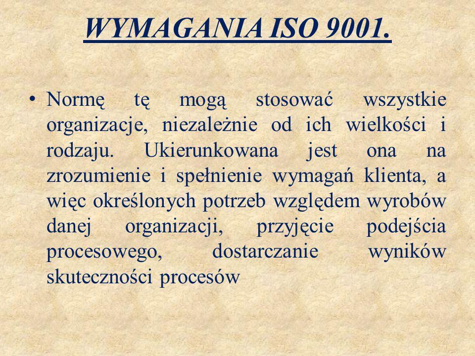 WYMAGANIA ISO 9001. Normę tę mogą stosować wszystkie organizacje, niezależnie od ich wielkości i rodzaju. Ukierunkowana jest ona na zrozumienie i speł