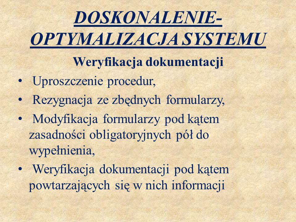 DOSKONALENIE- OPTYMALIZACJA SYSTEMU Weryfikacja dokumentacji Uproszczenie procedur, Rezygnacja ze zbędnych formularzy, Modyfikacja formularzy pod kąte