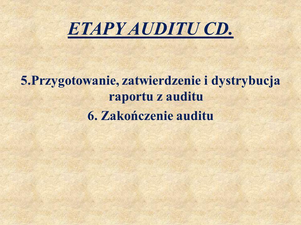 ETAPY AUDITU CD. 5.Przygotowanie, zatwierdzenie i dystrybucja raportu z auditu 6. Zakończenie auditu