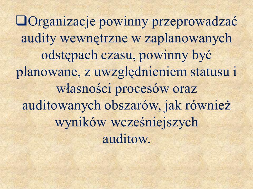  Organizacje powinny przeprowadzać audity wewnętrzne w zaplanowanych odstępach czasu, powinny być planowane, z uwzględnieniem statusu i własności pro