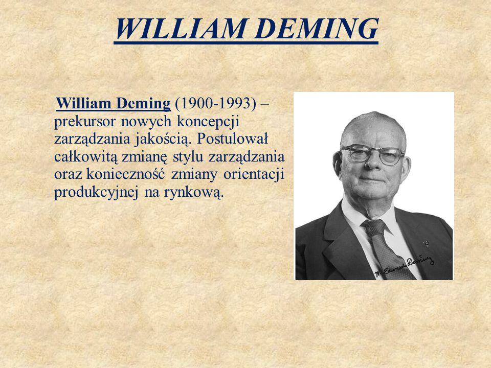 WILLIAM DEMING William Deming (1900-1993) – prekursor nowych koncepcji zarządzania jakością. Postulował całkowitą zmianę stylu zarządzania oraz koniec