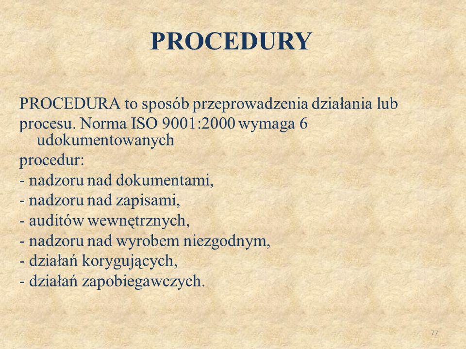 77 PROCEDURA to sposób przeprowadzenia działania lub procesu. Norma ISO 9001:2000 wymaga 6 udokumentowanych procedur: - nadzoru nad dokumentami, - nad