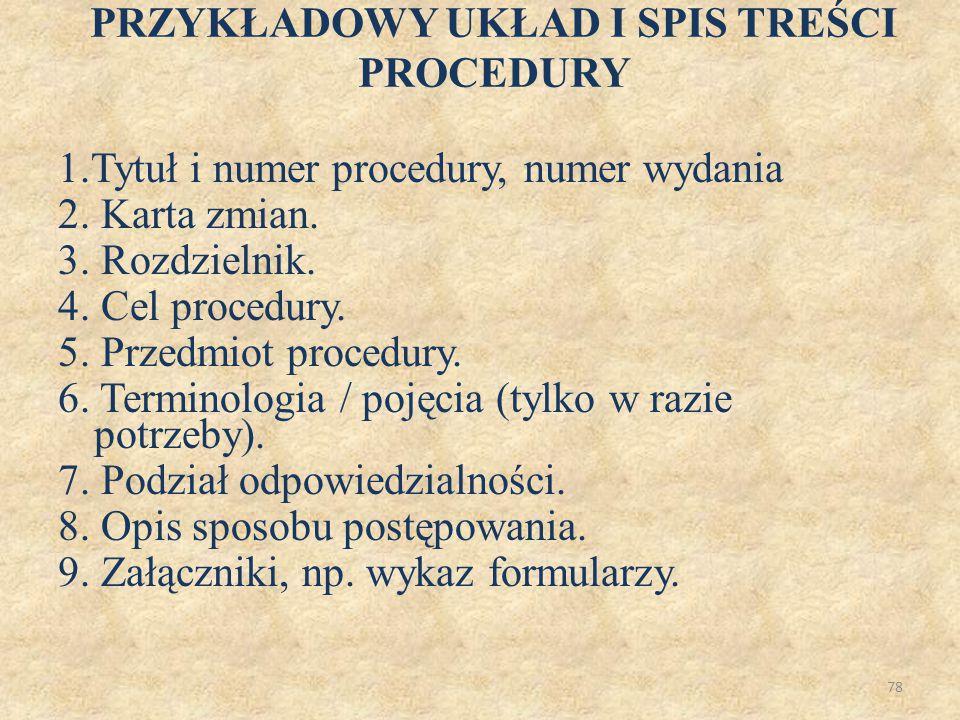 78 PRZYKŁADOWY UKŁAD I SPIS TREŚCI PROCEDURY 1.Tytuł i numer procedury, numer wydania 2. Karta zmian. 3. Rozdzielnik. 4. Cel procedury. 5. Przedmiot p