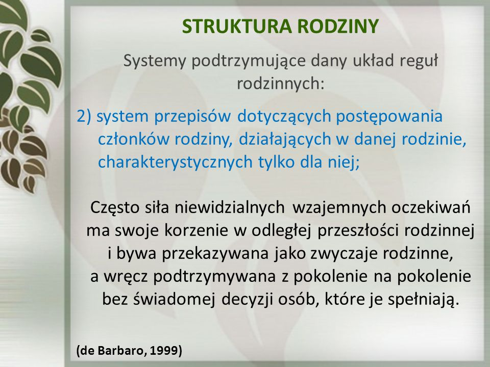 STRUKTURA RODZINY Systemy podtrzymujące dany układ reguł rodzinnych: 2) system przepisów dotyczących postępowania członków rodziny, działających w dan