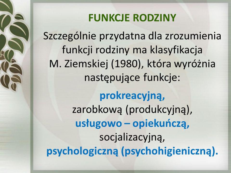 FUNKCJE RODZINY Szczególnie przydatna dla zrozumienia funkcji rodziny ma klasyfikacja M. Ziemskiej (1980), która wyróżnia następujące funkcje: prokrea