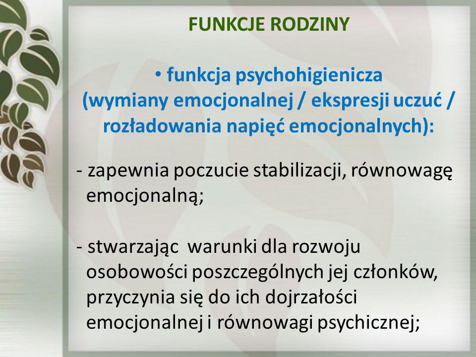 FUNKCJE RODZINY funkcja psychohigienicza (wymiany emocjonalnej / ekspresji uczuć / rozładowania napięć emocjonalnych): - zapewnia poczucie stabilizacj