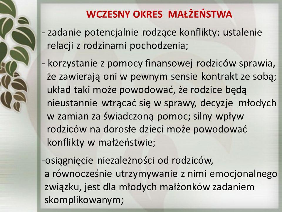 WCZESNY OKRES MAŁŻEŃSTWA - zadanie potencjalnie rodzące konflikty: ustalenie relacji z rodzinami pochodzenia; - korzystanie z pomocy finansowej rodzic